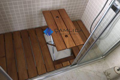 banyo için fonksiyonel duş ızgarası ahşap