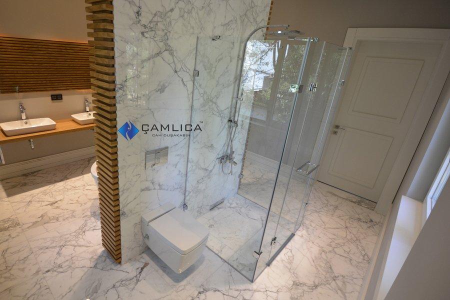 camdan menteşeli duş kabini